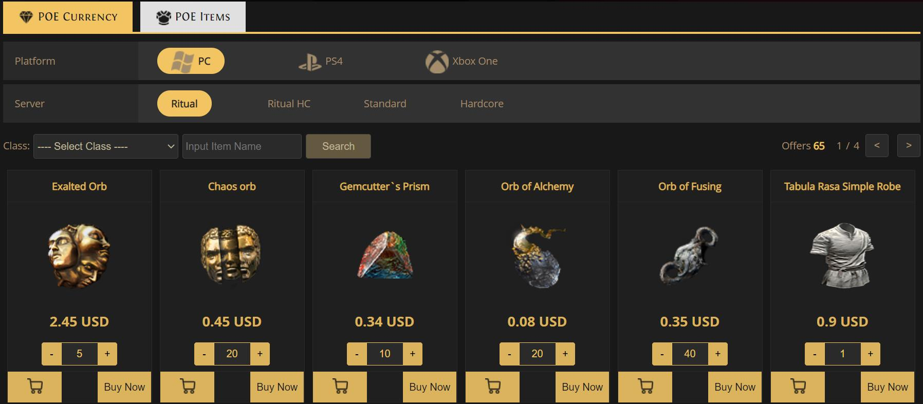 Cheap POE Currency and POE Items Trade
