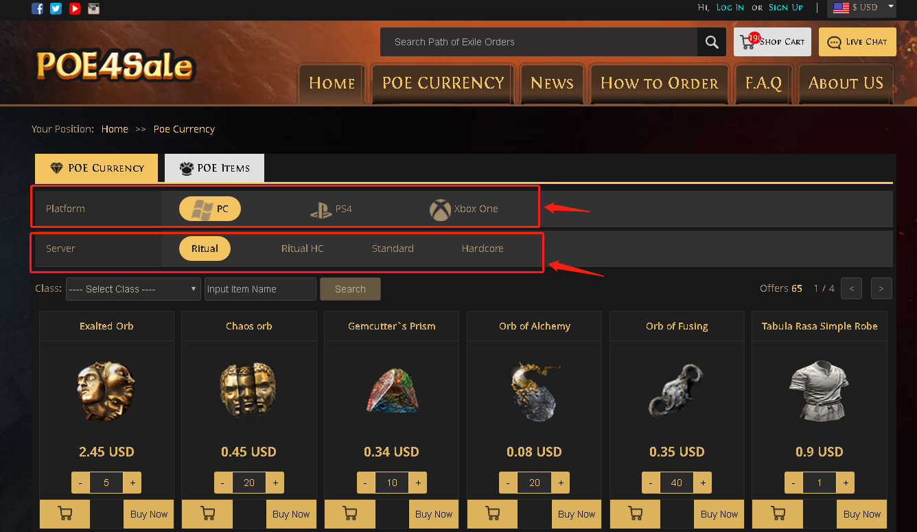 Purchase POE Currency Step 2